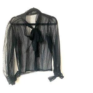 Zara black polka dot blouse